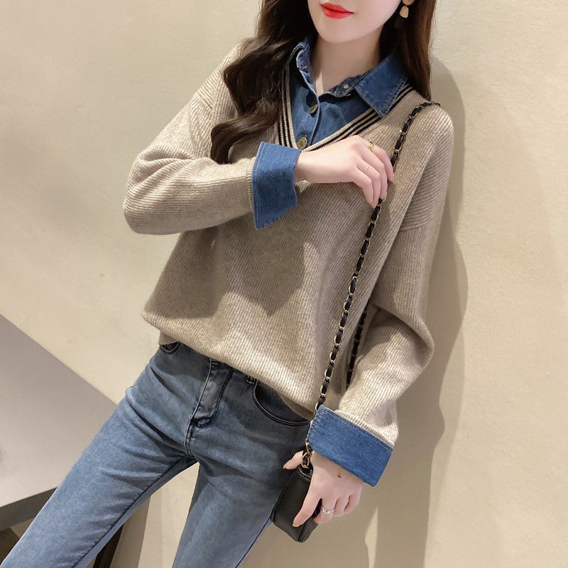 Fake two piece splicing denim shirt collar sweater women's 2020 spring and autumn new fashion knitted loose Pullover