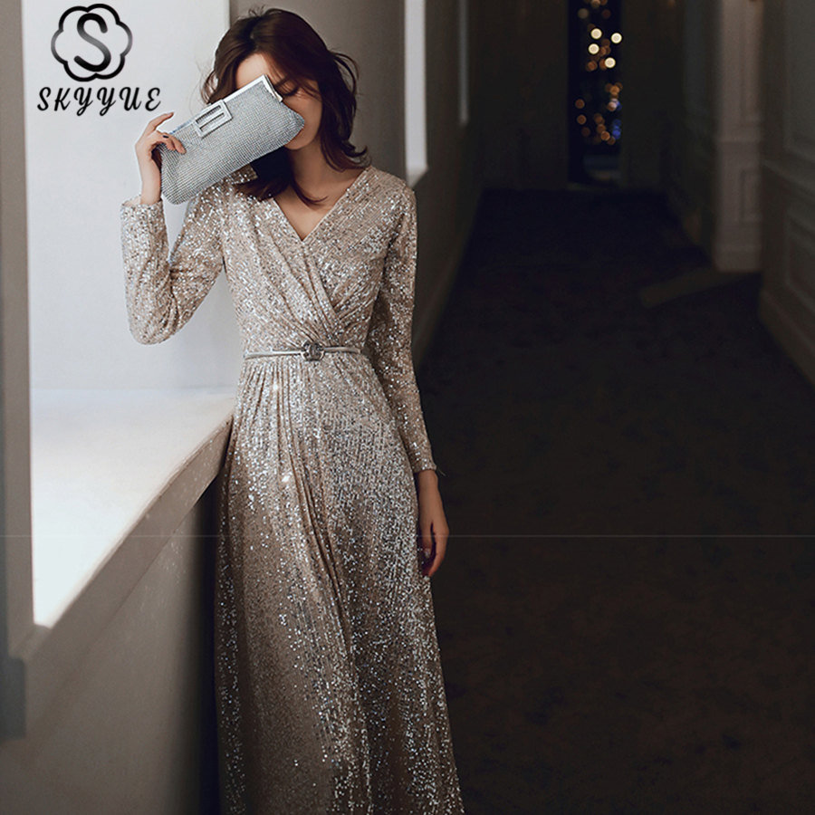 Skyyue Sexy V-Neck Evening Dress Plus Size Robe De Soiree K027 Elegant Women Party Dresses 2019 Long Sleeved Sequins Formal Gown