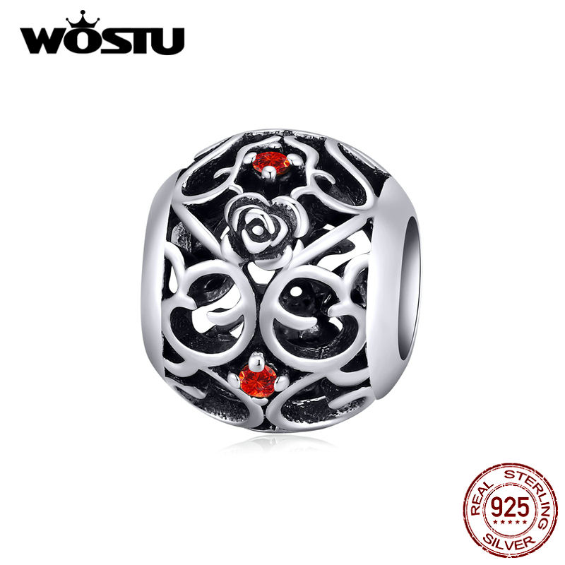 WOSTU 925 Sterling Silver Rose Flower Beads Openwork Charms Fit Original Bracelet Pendant For Women Necklace Jewelry CQC1442