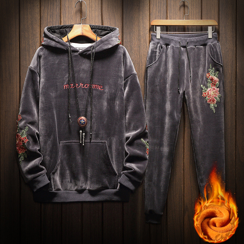 Mens Tracksuit Winter Fashion Pattern Printing Plus Velvet Thick Warm Hooded Hoodies+sweat Pants Jogger Suits For Men
