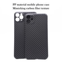 Funda de teléfono móvil de material PP para iPhone 11 Pro max, protección de lente con textura de fibra de carbono X XS Max XR