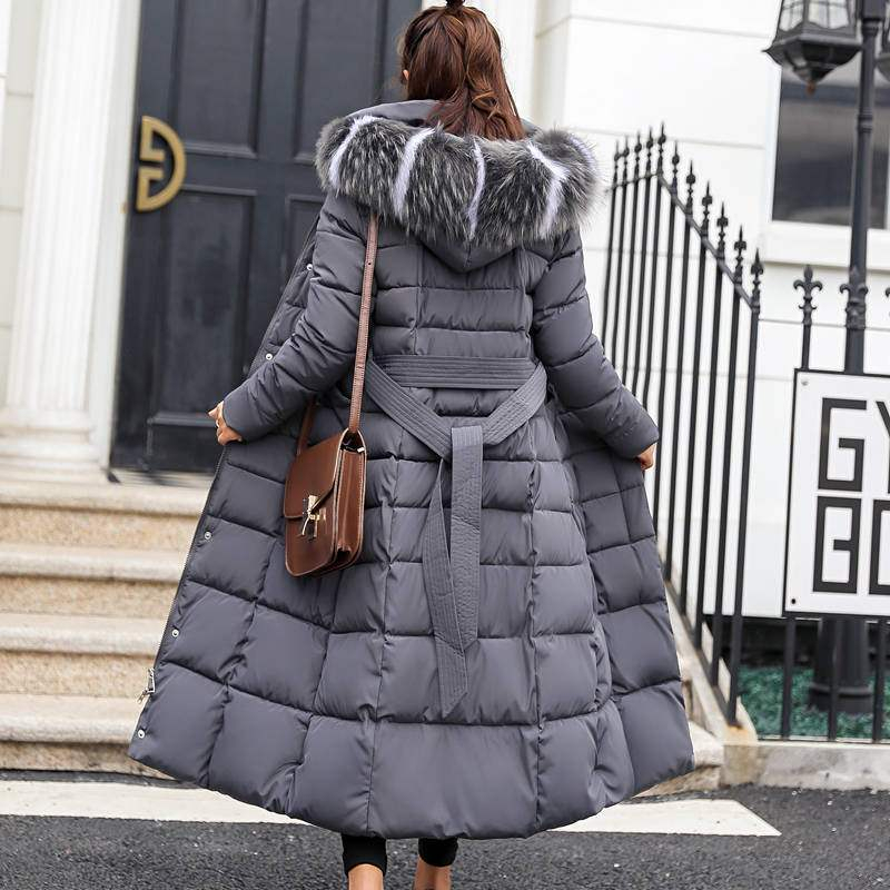 Hooded Fur Collar Down Parkas Women Winter X Long Thick Warm Coat Chaqueta Mujer Female Down Cotton-padded Clothes Jacket X9211