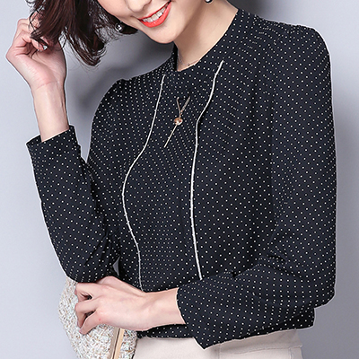 Polka Dot Shirts Woman Clothes Long Sleeve Chiffon Blouse Women 2020 Spring Tops New Button Blouses Casual Black Chemisier Femme 7