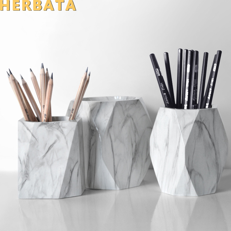 Marble Pen Holder Simple Storage Box Creative Resin Desk Organizer Desktop Makeup Brush Container Fashion Office Supplies 2561