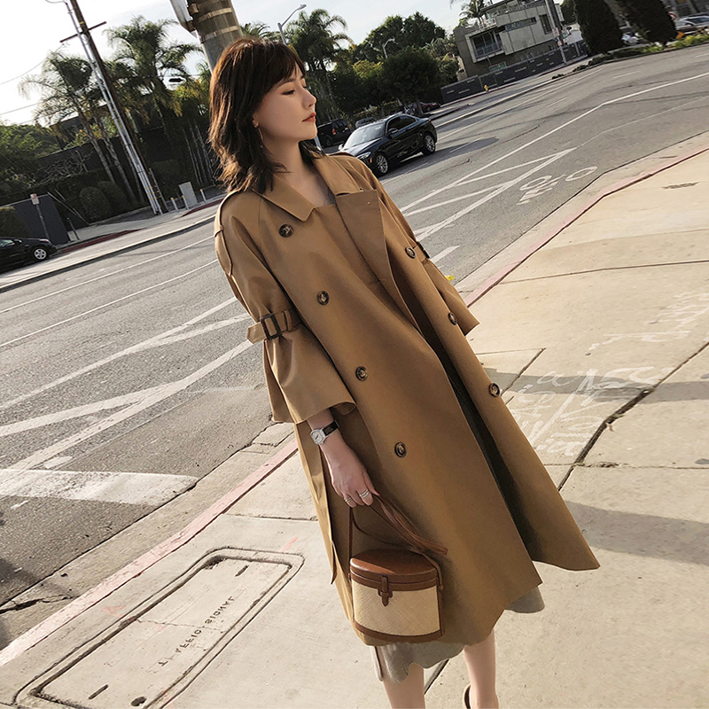 new arrival high quality women fashion comfortable loose a-line   trench   coat wild trend temperament outdoor warm long   trench