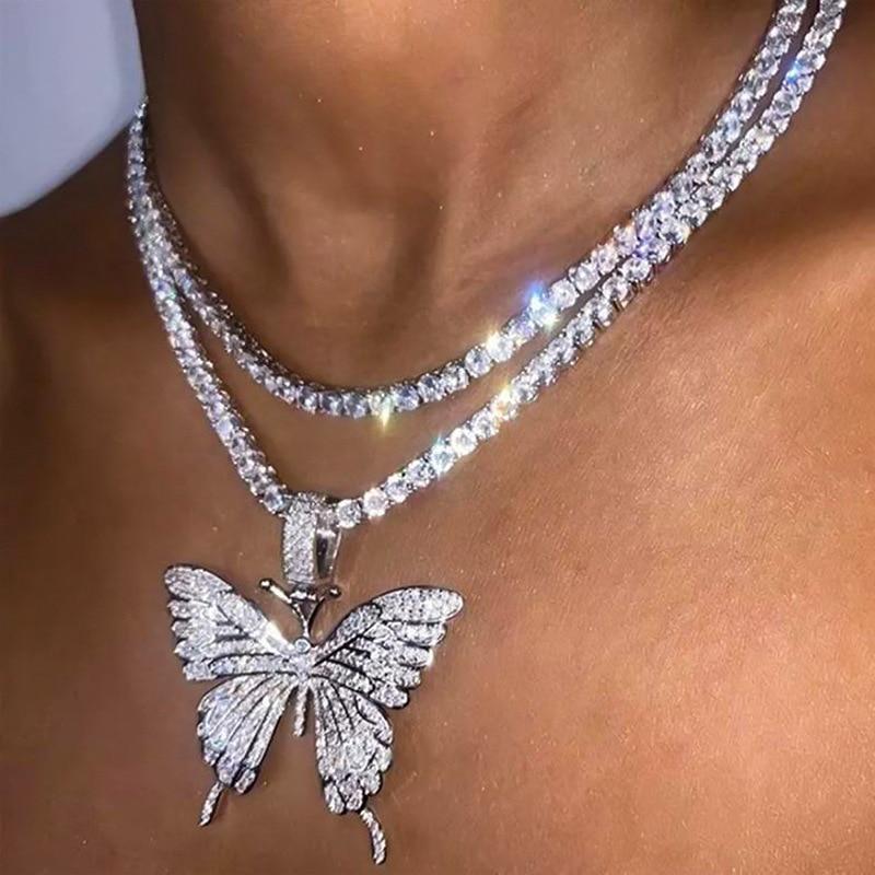 Ожерелье женское с крупной бабочкой, блестящее колье с кулоном в виде бабочки, цепь для тенниса с кубическим цирконием, массивное Ювелирное ...