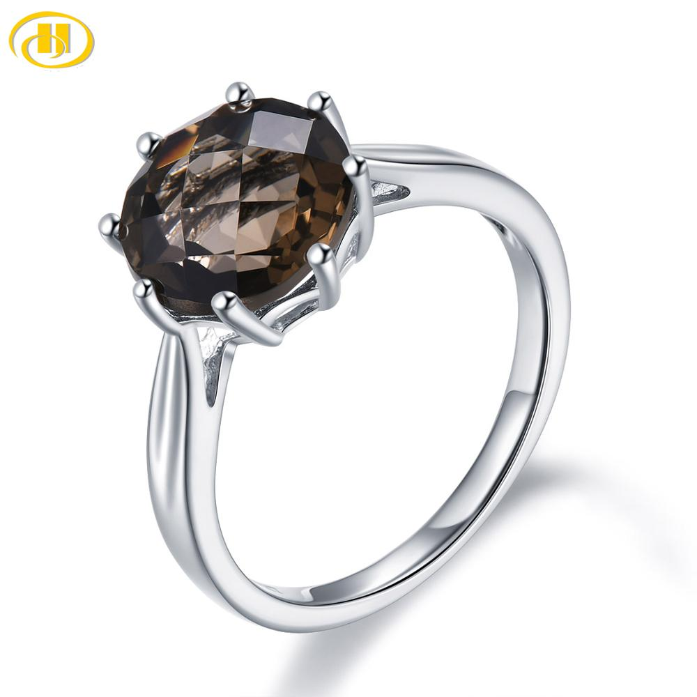 Hutang 3.73ct Smoky Quartz 925 Silver Ring Genuine Brown Gemstone Sterling Silver Rings for Women Fine Elegant Classic Jewelry