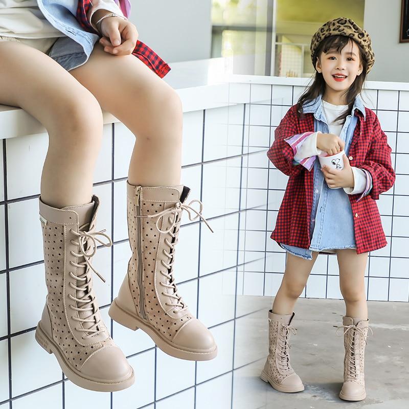 Girls Boots 2019 Fashion Winter Autumn Girls Kids Shoes Children Little Big Girl Warm Spot Leather Zip Boots For Kids Boot