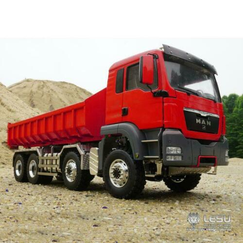 LESU RC 1/14 MAN TGS 8*8 Dumper Roll On/Off camion hydraulique levage son peinture couleur rouge THZH0479