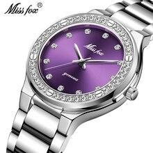 MISSFOX reloj analógico para mujer, de acero inoxidable, resistente al agua, con diamantes, informal