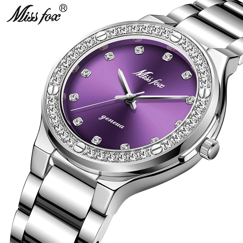 Relogio Feminino MISSFOX Hot Watch Women Waterproof Analogue Clock Fashion Stainless Steel Waterproof Casual Diamond Watch Women