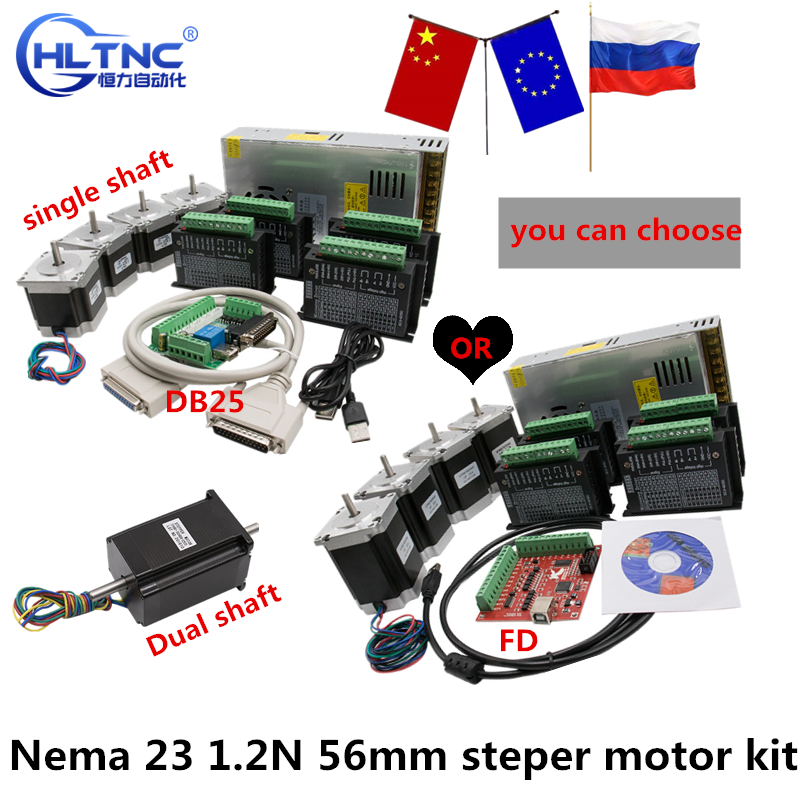 350W Power Supply 24VDC 1 Breakout Board and Parallel Cable for 3D CNC 4 Axis Nema 23 Stepper Motor 1.2N 56mm+TB6600 Diver 4A