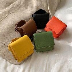 Mini Wrist Bag Classic Texture Delicate Creative Design Chic Women PU Leather Wrist Purse Pure Color Wristlets Handbag Clutch