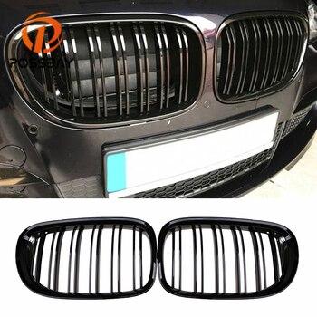 Possbay grade dianteira rim grill gloss preto/preto fosco corrida grills para bmw série 7 f01/f02/f03/f04 2009-2012 pré-facelift