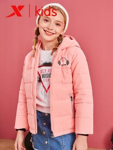 Image 4 - Xtep Girls Fashion Hooded Down Jackets Kids Casual Solid Color Zipper Warm Coats Children Thicken Coats 682424189047