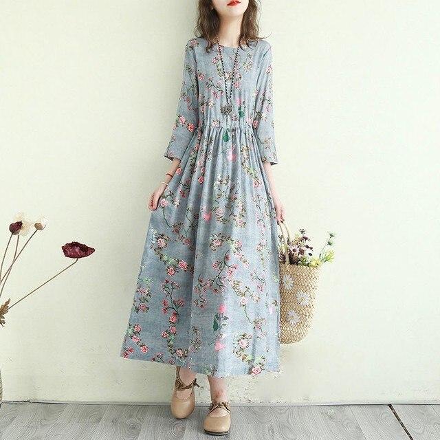 Women Cotton Linen Casual Dress New Arrival 2021 Summer Vintage Style Floral Print Ladies Elegant A-line Long Dresses T001 4