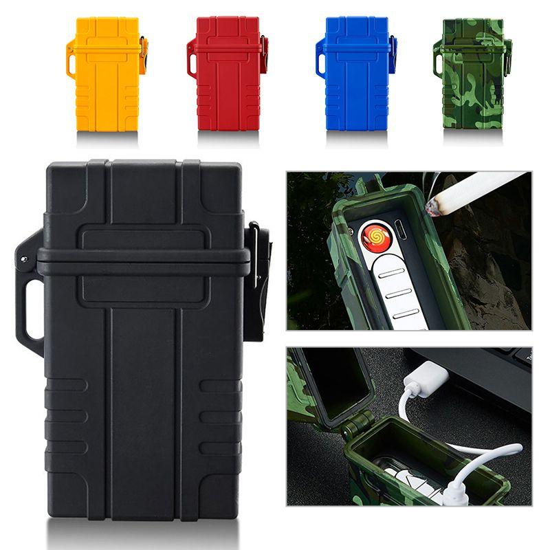 20pcs Capacity Cigarette Case Box With USB Electronic Lighter For Slim Cigarette Waterproof Cigarette Holder Plasma Lighter