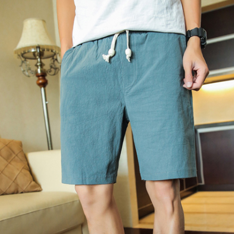 Brand Men's Shorts High Quality Linen Cotton Comfort Casual Sports Shorts Male Streetwear Solid Color Fashion Shorts Men FK66-1