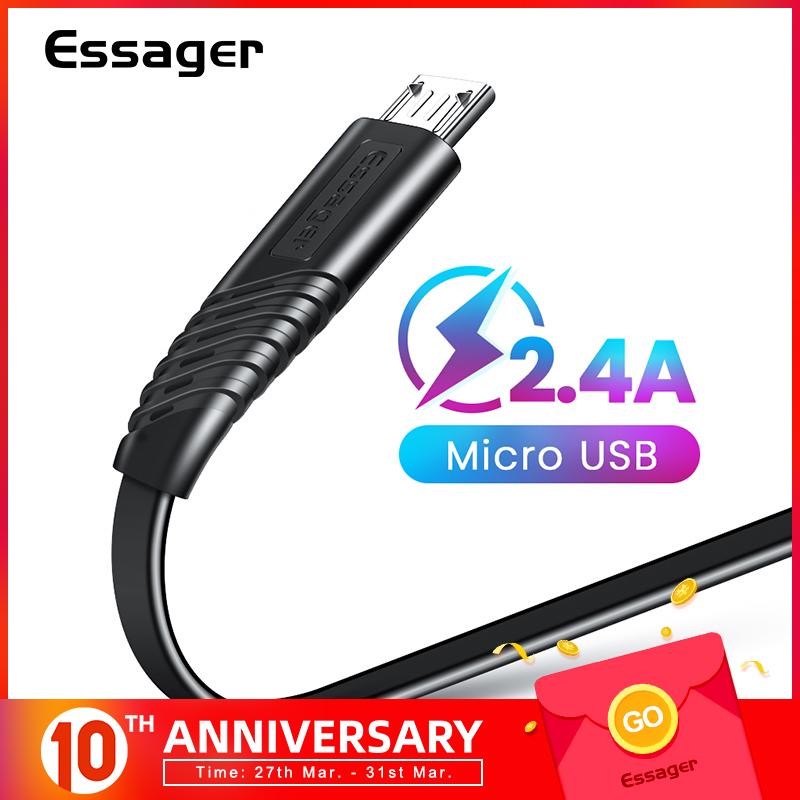 Essager Flat Micro USB Cable For Xiaomi Redmi Samsung 2.4A Fast Charging Microusb Data Charger Cord Android Mobile Phone Cables|Mobile Phone Cables| |  - AliExpress
