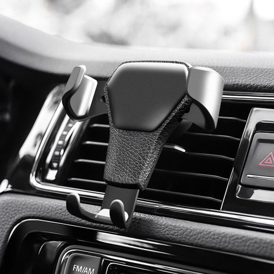 KSTUCNE Gravity Reaction Car Mobile Phone Holder Clip Type Air Vent Monut GPS Car Phone Holder For IPhone 8 7 6s Plus Samsung S6