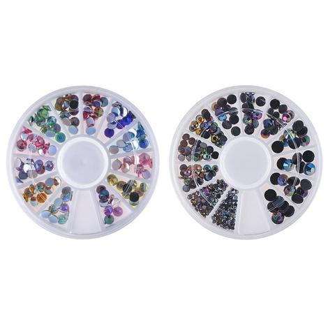 Biutee 10 pcs Shiny Diamonds Acrylic Box for Nails Decoration Nail Art, Various Colors Diamond Boxes Nail Decoration Kit Nail 3D Karachi