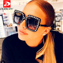 DUBERY Oversize Rhinestone Square Sunglasses Women Luxury Br
