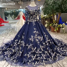 LSS382 Vestidos de Noche de manga larga para mujer, azul marino, cuello redondo, elegante, para ocasión, envío gratis, 2020