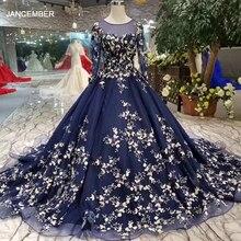 LSS382 granatowe niebieskie suknie wieczorowe długie o neck długie rękawy panie sukienek eleganckie kobiety okazja sukienka 2020 darmowa wysyłka