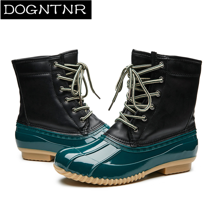 Women's Casual Hunting Duck Boots <font><b>Amazon</b></font> Version Female Students Warm Snow Boots Winter Non-slip Waterproof Adult Rain Boots image