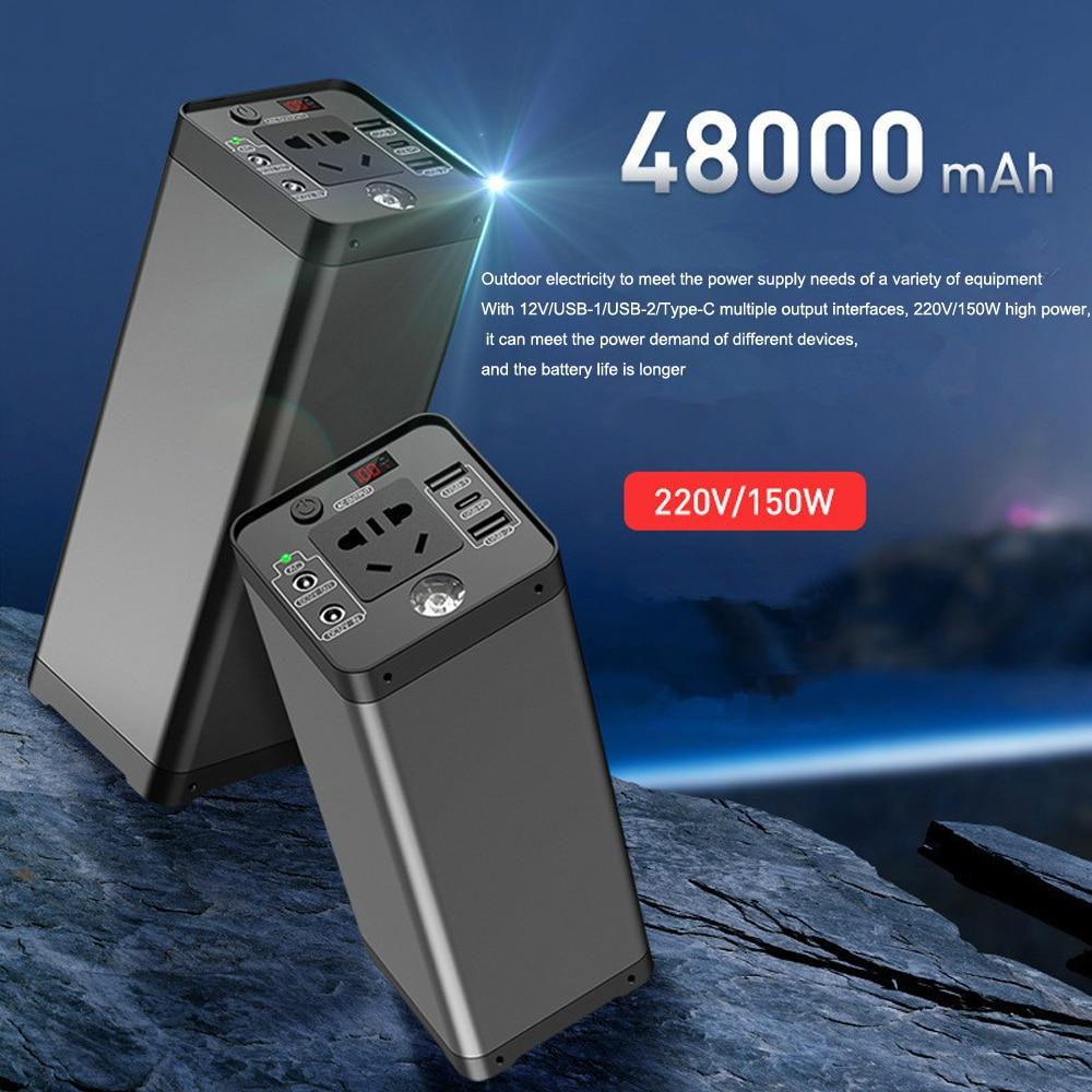 150w estacao de energia portatil 48000mah bateria de litio gerador solar multifuncional emergencia ao ar livre