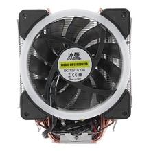 ثلج 4PIN وحدة المعالجة المركزية برودة 6 heatpipe RGB LED مراوح مزدوجة التبريد 12 سنتيمتر مروحة LGA775 1151 115x1366 دعم إنتل AMD