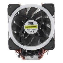 PUPAZZO di NEVE 4PIN CPU cooler 6 heatpipe RGB LED Doppio ventole di raffreddamento 12 centimetri fan LGA775 1151 supporto 115x1366 intel AMD