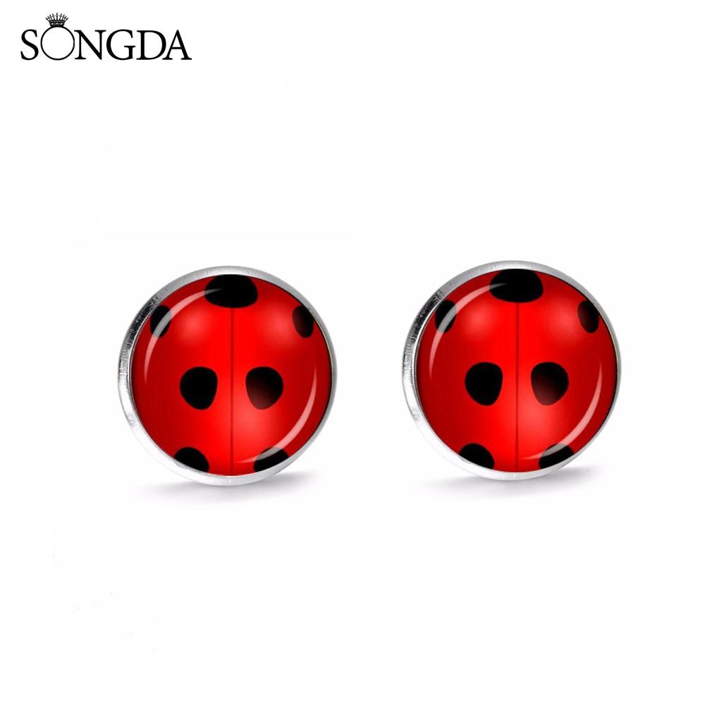 SONGDA 2019 Magic Ladybug Stud Earrings Cosplay Lady Bug Circle With Dot Insect Animal Earring Anime Jewelry Gift For Women Girl