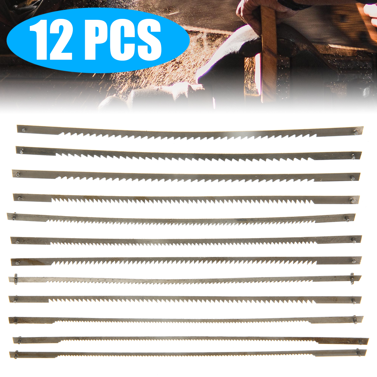 12PCS 127mm Wire Saw Blade Cutter Jewelry Cutting Jig  Pinned Scroll Saw Blades 10/15/18/24 Teeth Woodworking Hand Craft Tool