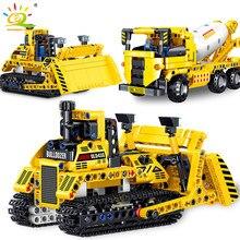HUIQIBAO D'ingénierie High-tech Bulldozer Camion À Benne Basculante Blocs De Construction City Construction Camion Malaxeur De Béton Briques Jouets Enfants