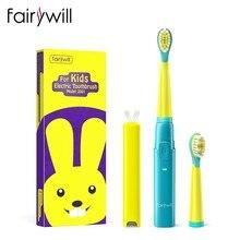 Fairywill – brosse à dents électrique sonique pour enfants, Rechargeable, nettoyeur de langue douce, minuterie intelligente et 3 Modes, Charge de 4 heures, 2 têtes, 2001