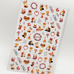 3D Nail Sticker Lovely Fox Animal Nail Art Decorations Wraps Decals Slider Design Adhesive Manicure Tips Stickers