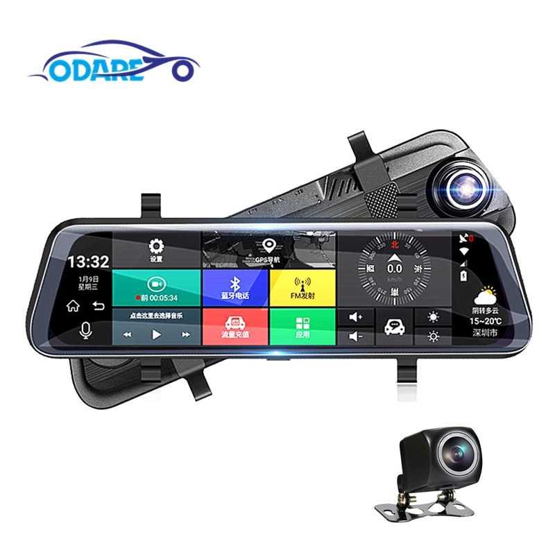 Odare 1080P ADAS Автомобильный видеорегистратор двойная камера ips 10 дюймов FHD видео регистратор с ночным видением gps навигация Сенсорное зеркало заднего вида