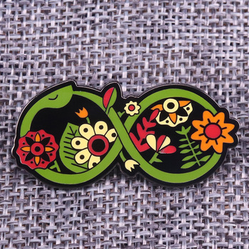 Flower Serpent Enamel Pin Green Snake entwined with flowers brooch image