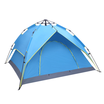2-3 Person Double-Deck Tow-Door Hydraulic Automatic Tent Free Build Outdoor Tent Blue 4 Sides Of The Camping