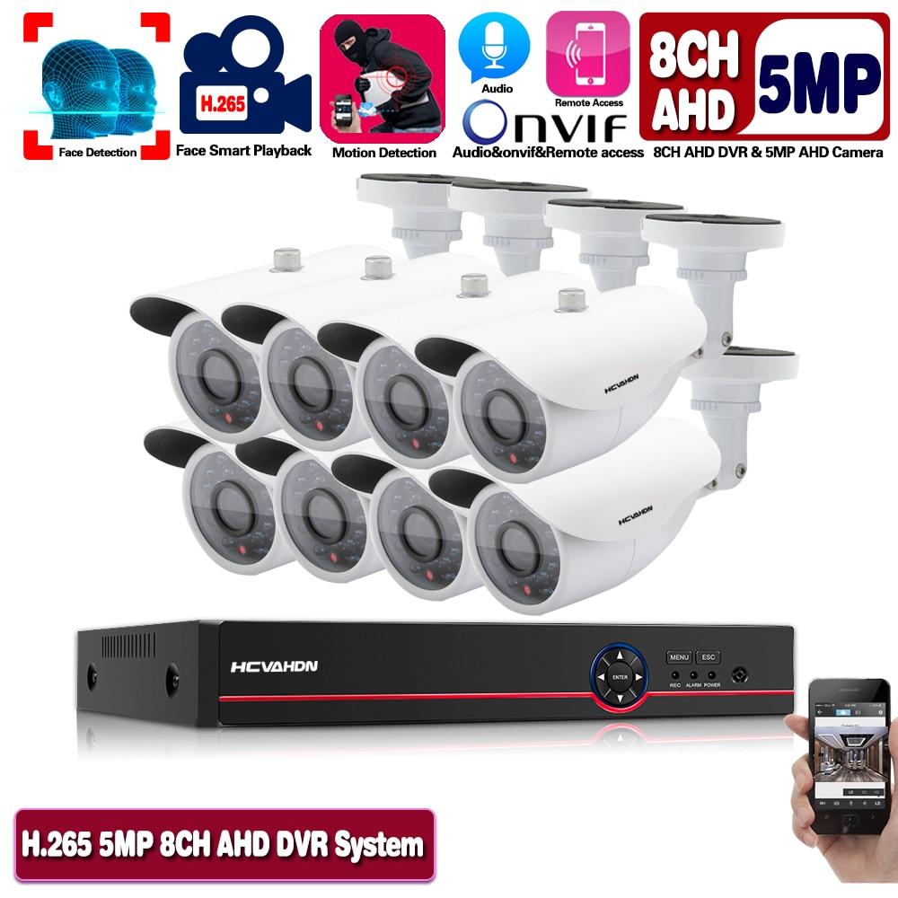 H.265 8CH 5MP sistema de cámaras de seguridad, Kit de Audio con cámara de grabación facial AHD DVR para exteriores, resistente al agua, vídeo CCTV, Conjunto de Vigilancia DVR ANRAN AHD CCTV sistema 2MP DVR Sistema de videovigilancia, cámara de seguridad exterior HDD impermeable visión nocturna P2P HDMI