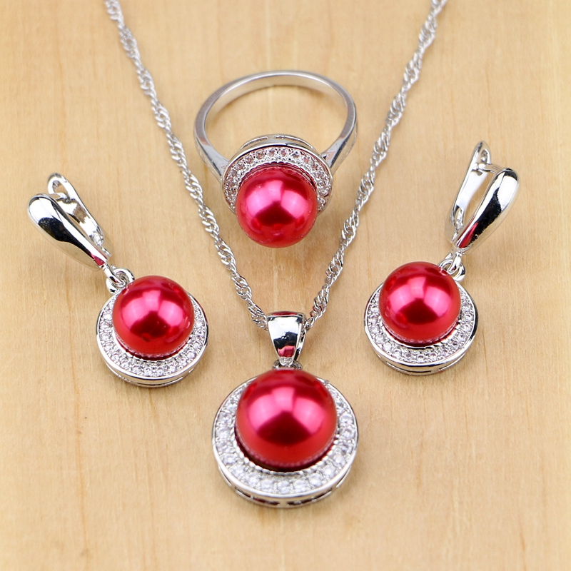 Red Simulated-Pearl With Beads 925 Silver Jewelry Sets For Women Party Pendant Drop Earrings Rings Necklace Set