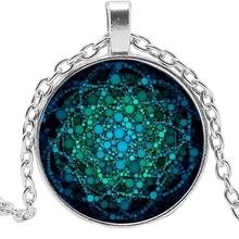 2019 Fashion Glass Dome Sacred Geometry Female Jewelry Life Flower New Necklace Om Yoga Chakra Pendant Mandala