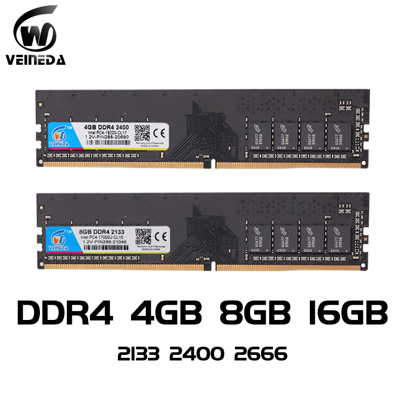 VEINEDA <font><b>ddr4</b></font> 8 gb PC Computer <font><b>RAM</b></font> 4GB <font><b>8GB</b></font> 4G 8G Memory DDR 4 PC4 <font><b>2133</b></font> 2400 2666Mhz Desktop Motherboard <font><b>Memoria</b></font> 288-pin image