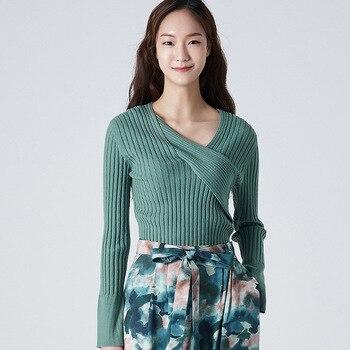 2020 Autumn Winter New Criss Cross Irregular Neck Pullover Sweater Solid Women Sweater Long Sleeve Slim Elastic Green Sweaters criss cross sleeve crop tee