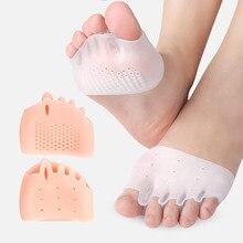 Semelles en Silicone avant-pied coussinets séparateur d'orteils chaussures de soulagement de la douleur semelles orteil Hallux Valgus correcteur coussin Gel pédicure chaussettes