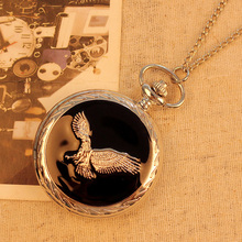 2020 Fashion Luxury Vintage Men's Pocket Watch Stainless Steel Eagle Necklace Pendant Relogio Masculino