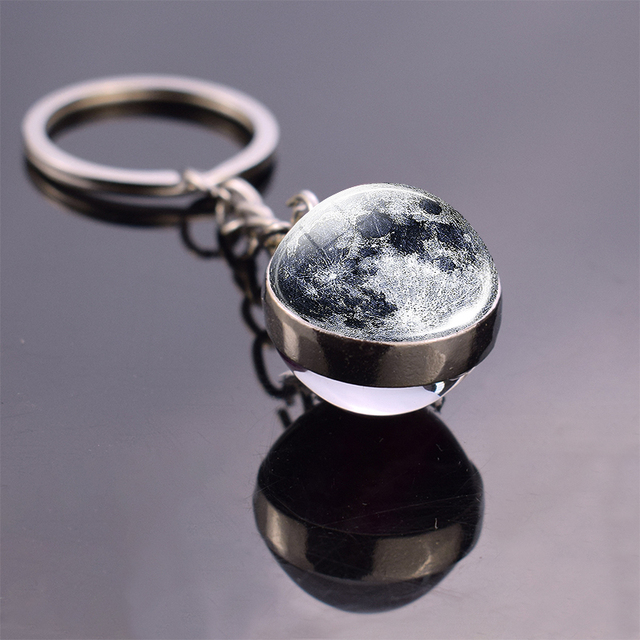 Earth Moon Keychain Galaxy Solar System Planet Glass Ball Pendant Keyrings Universe Sun Jupiter Double Side Glass Ball Jewelry 2