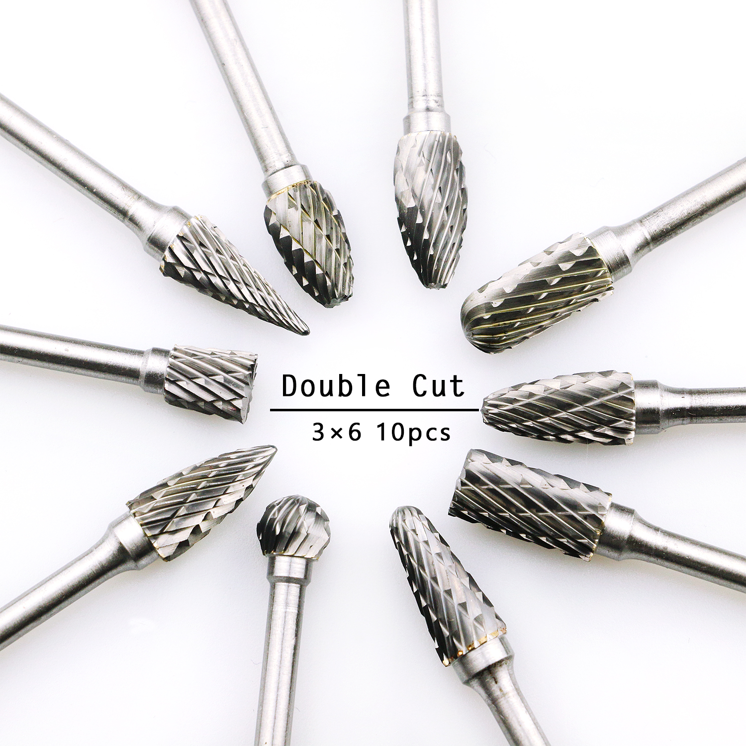 10pcs Double Cut Tungsten Carbide Rotary Burr Set Metal Carving Drilling Polishing Bits With 3mm Shank For Die Grinder