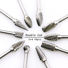 10pcs Double Cut Tungsten Carbide Rotary burr Set Metal Carving Drilling Polishing Bits with 3mm Shank for Die Grinder(China)